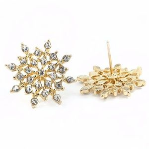 Gold Crystal Snowflake ❄️ Earrings